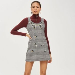 Topshop b/w embroidered houndstooth jumper dress